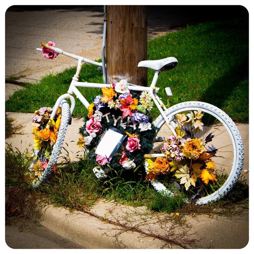 A ghost bike memorial