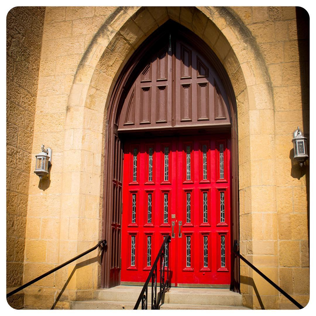 Red church doors on the capitol square