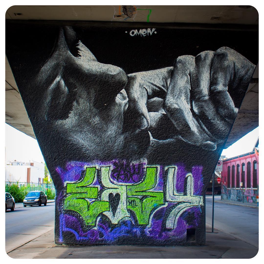 Graffiti/mural underneath a highway in Montréal