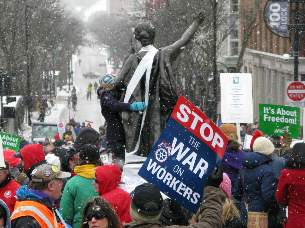 Protests in Madison, Wisconsin, on February 26, 2011.